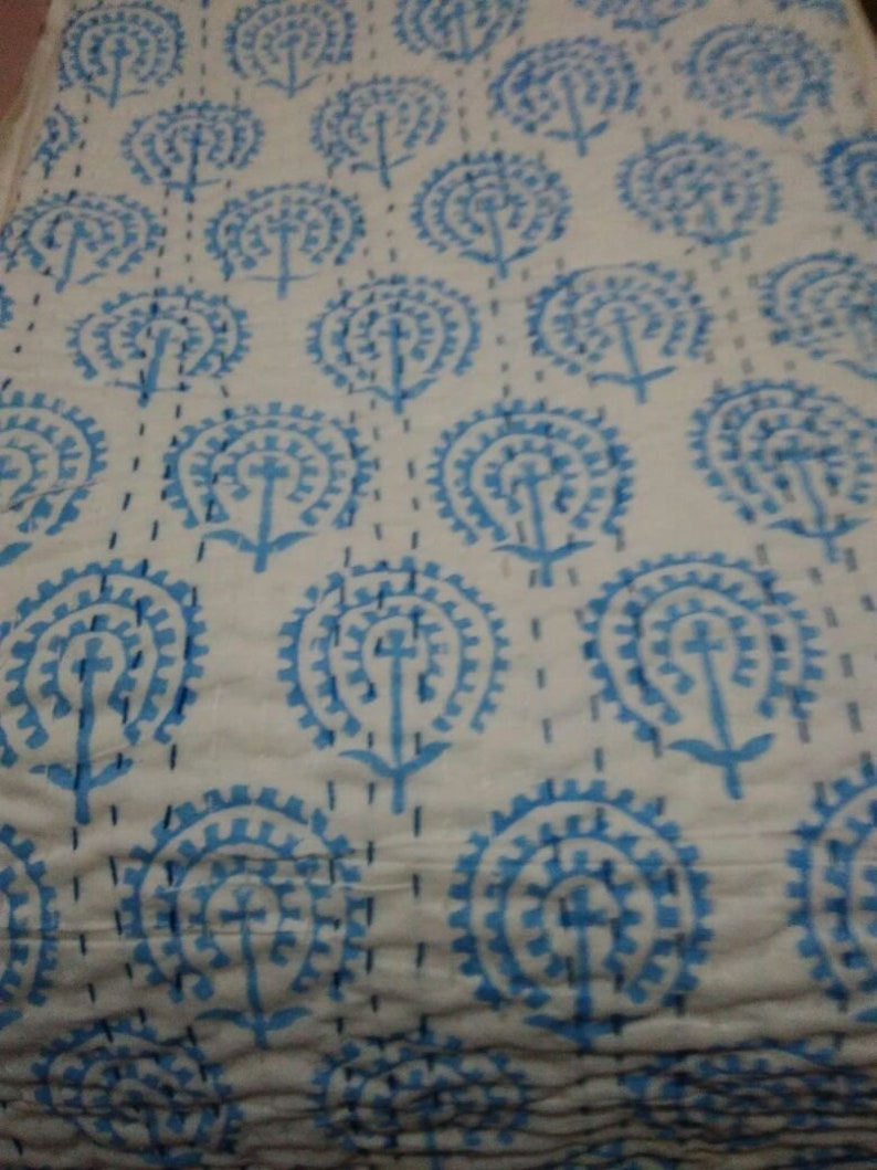 Indian Cotton Patchwork kantha Quilt Coverlet Handmade Bedspread Gudari Blanket
