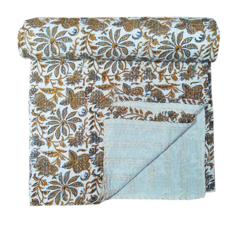 Reversible Bedding Bedspread Throw Kantha Blanket Indian Handmade Floral Printed Cotton Queen Size Kantha Quilts Reversible Quilts