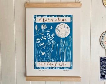 Hare in Spring - Original A3 Linocut & Personalised Calligraphy Print - New Baby/Child's Birthday/Anniversary/Engagement etc
