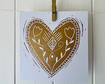 Gold Heart Linocut Print Card - Valentine's Day/Engagement/Wedding/Anniversary/Birthday etc