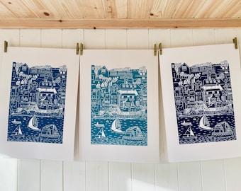 Salcombe Harbour Coastal Print - Original A3 Linocut Print