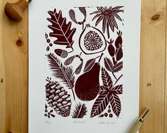 Autumn - A4 Original Handprinted Linocut Print