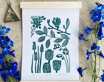 Spring - A4 Original Handprinted Linocut Print