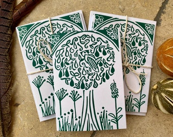 Partridge in a Pear Tree Handprinted Linocut Cards - set of 6, green