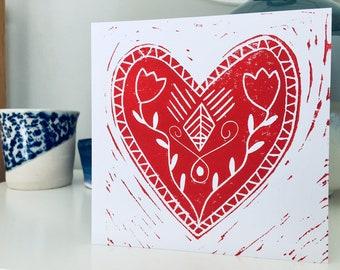 Heart Linocut Print Card