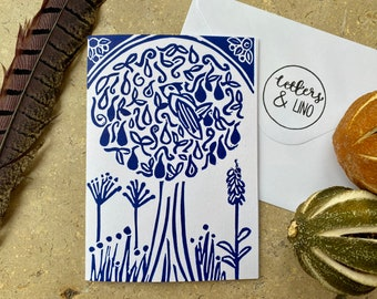 Partridge in a Pear Tree Handprinted Linocut Cards - set of 6, blue
