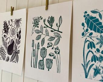 Autumn, Winter & Spring Print Bundle - A4 Original Handprinted Linocuts