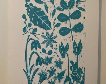 Winter - A4 Original Handprinted Linocut Print