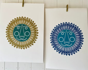 Lion - Original Handprinted Linocut Print available in different colour choices