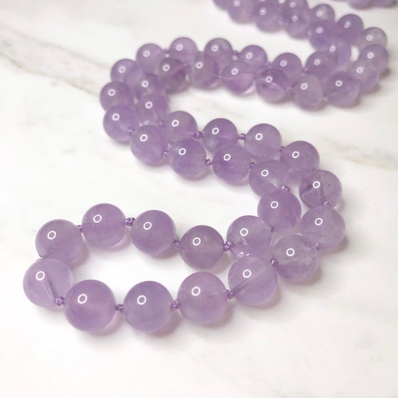 Cape Amethyst Lavender Healing Necklace \u2014 Discover Your Unique Spiritual Path \u2014 Beaded Hand-Knotted Therapeutic Necklace