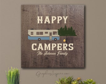 Personalized Happy Campers Class A Canvas Wrap Wall Art w/Name - Retro Motorhome At Campsite In Forest-Faux Dark Wood Rustic RV Camper Decor