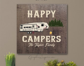 Personalized Happy Campers RV Fifth Wheel Camper Canvas Wrap Wall Art W/Name - 5er Camping At Campsite In Forest -Faux Wood Rustic RV Decor