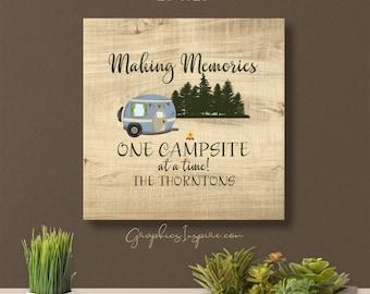 Personalized Making Memories RV Canvas Wrap; One Campsite At A Time W/Fun Retro RV Camper W/Name Camping / Faux Wood Rustic Rv Glamper Decor