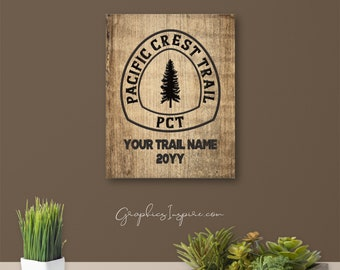 Personalized PCT Hiker's Keepsake Canvas Wrap W/Trail Name And Year Hiked - Rustic PCT Trail Sign On Faux Wood - Pacific Crest Trail Hikers