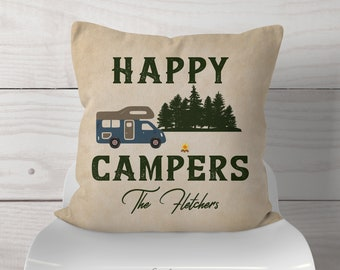 Personalized Happy Campers Class C RV Camping Throw Pillow W/Name-Fun Retro Class C Camper At Campsite - Beige Textured/Distressed Rv Decor