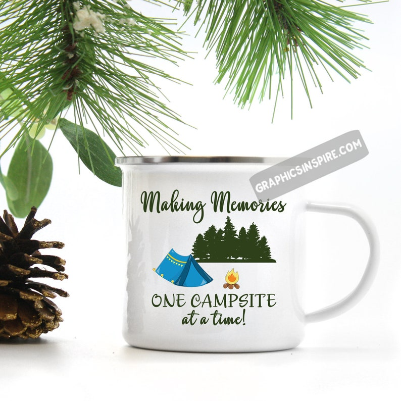 Making Memories One Campsite Tent Camping Metal Camp Mug-Fun Retro Tent at  Campsite in Forest-Campfire-Backpackers Tent Campers Coffee Mug