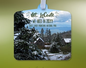 Personalized Mt. Leconte We Hiked Ornament W/Year Hiked-Great Smoky Mountains Snow Covered Hiking Ornament-Wilderness Lodge On Mt. Leconte