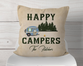 Personalized Happy Campers RV Camping Throw Pillow / Retro RV Camper / Forest Campsite / Camping Lovers - Beige Textured Rustic Rv Decor