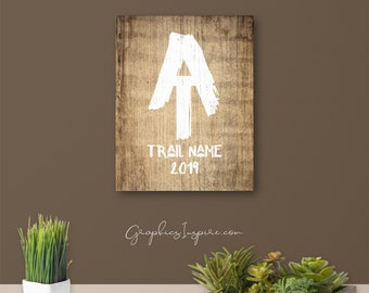 Personalized AT Hiker's Keepsake Canvas Wrap W/ Trail Name And Year Hiked - Rustic AT Painted Font On Faux Wood - Appalachian Trail Hikers