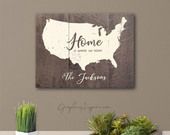 Personalized USA Home Is Where We Roam Canvas Wrap Wall Art w/Names - Full-Timers RV Camping Rustic Rv Camper Glamping Faux Wood Wall Decor