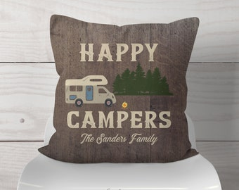 Personalized Happy Campers Class C RV Camping Throw Pillow W/Name-Fun Retro Class C Camper At Campsite - Faux Dark Wood Distressed RV Decor