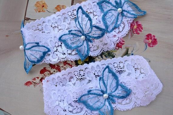 Wedding Lace Garter Toss White Garter White Wedding Garter Blue Bridal Gift White Teal Blue Bridal Garter Set lace /& Butterfly For Wedding