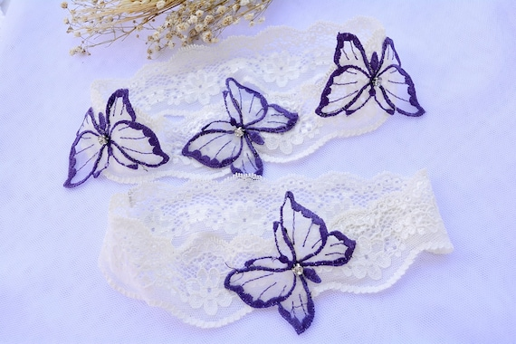 Butterfly Bridal Gift Garter Set Lace Bridal Garters Sets Purple Butteqflies White Lace Wedding Garter Set White Garter Garters Purple