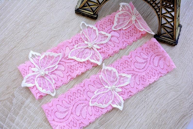 Wedding Pink Toss Garter Keep Garter White Bridal Garter Lace Wedding Garter Set White Pink Flower Lace Butterflies Bridal Garter Set