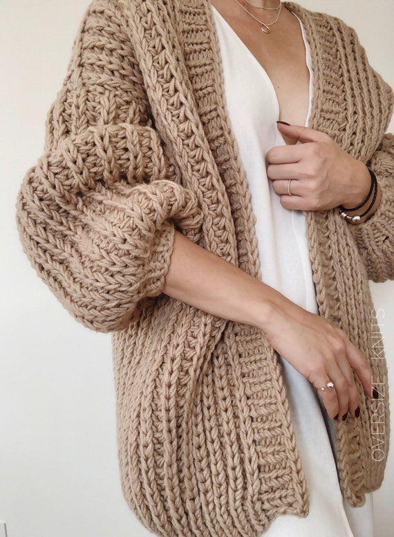 Cozy Knit Cardigan, Chunky Knit Cardigan, Cable Knit Sweater, Long Oversized Cardigan, Beige Cardigan, Wool Cardigan, Hand Knit Cardigan