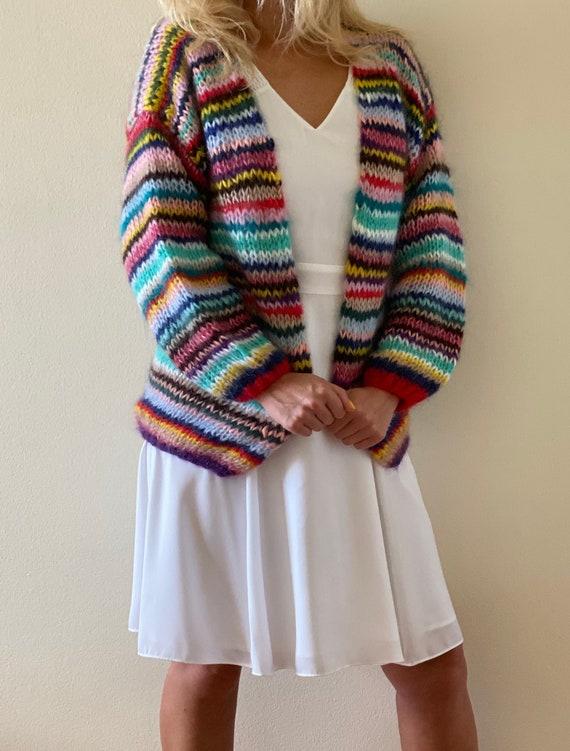 Multicolor cardigan Mohair wool cardigan Multicolor cardigan sveaters Oversized cardigan women Cropped cardigan Rainbow sweater