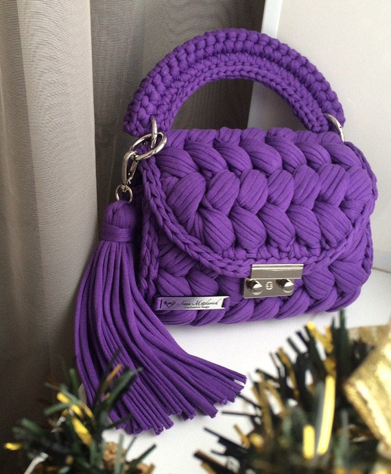 crochet handbag  knitted handbag stylish bag gift for her Violet tote bag crochet bag with ruffles women bags mini size knitted bag