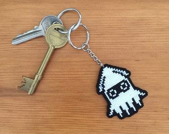 Super Mario Blooper squid keychain** Custom Bottle Cap Keychain** Quick shipping**
