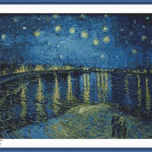 Van Gogh Cross Stitch Van Gogh Starry Night Over the Rhone Counted Cross Stitch Pattern Starry Night PDF Download Famous Paintings