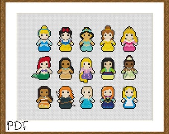 PDF Disney Princesses Counted Cross Stitch Sampler Pattern, Belle, Ariel, Moana, Mulan, Jasmine, Aurora, Rapunzel, Tiana, Merida, Alice