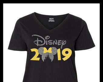 8c52cbae8acbe Minnie Mouse Head and Bow 2019 Castle Cut Out Disney Plus Size V-Neck T- Shirt
