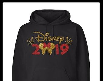 b61642e57c4d Minnie Disney Castle Head and Bow Glitter 2019 Hooded Unisex Sweatshirt