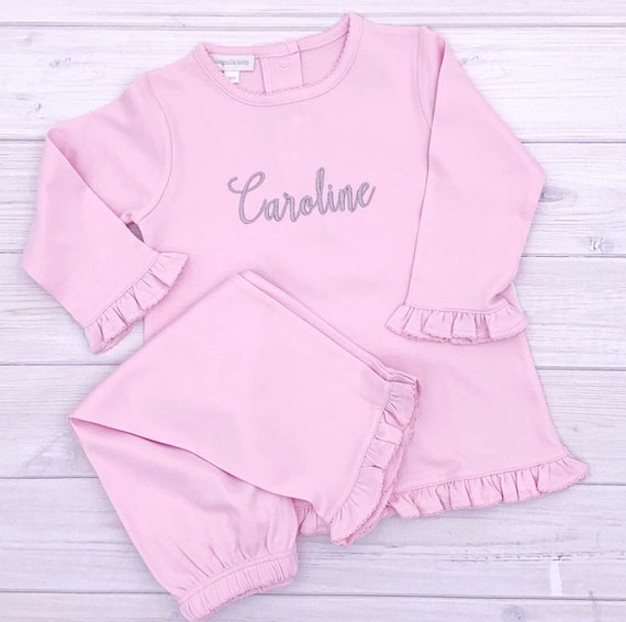 Magnolia Baby Baby Girl Vintage Baby Letters Printed Ruffle Footie Pink