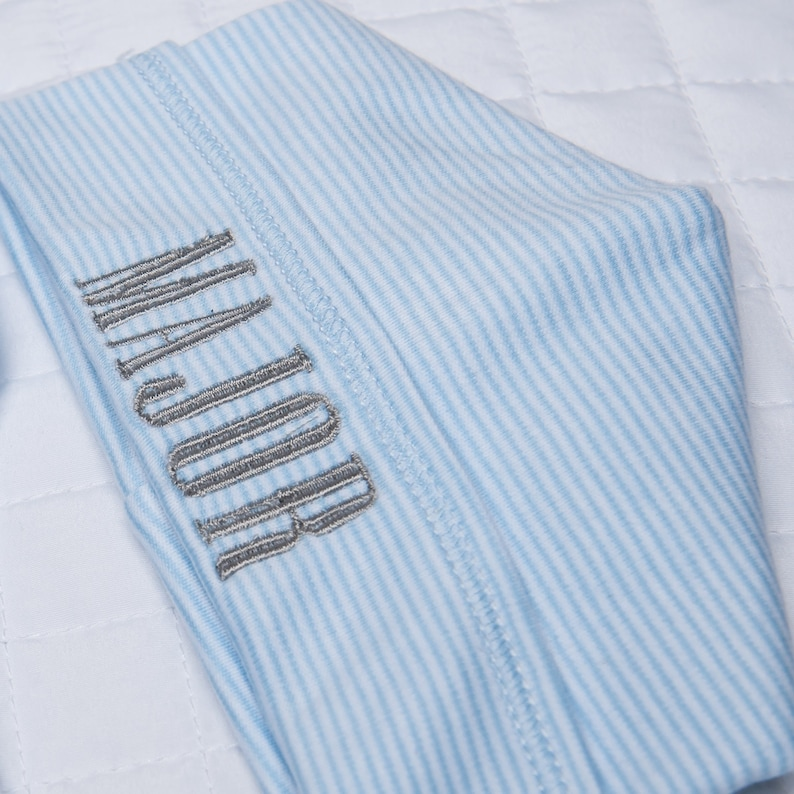 Hat /& Blanket Blue Mini Stripe Footie Name on Hat Blanket Traditional Monogram on Footie Engrave Font Baby Boy Take Me Home Outfit