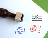 Colorado Flag Wooden Rubber Stamp