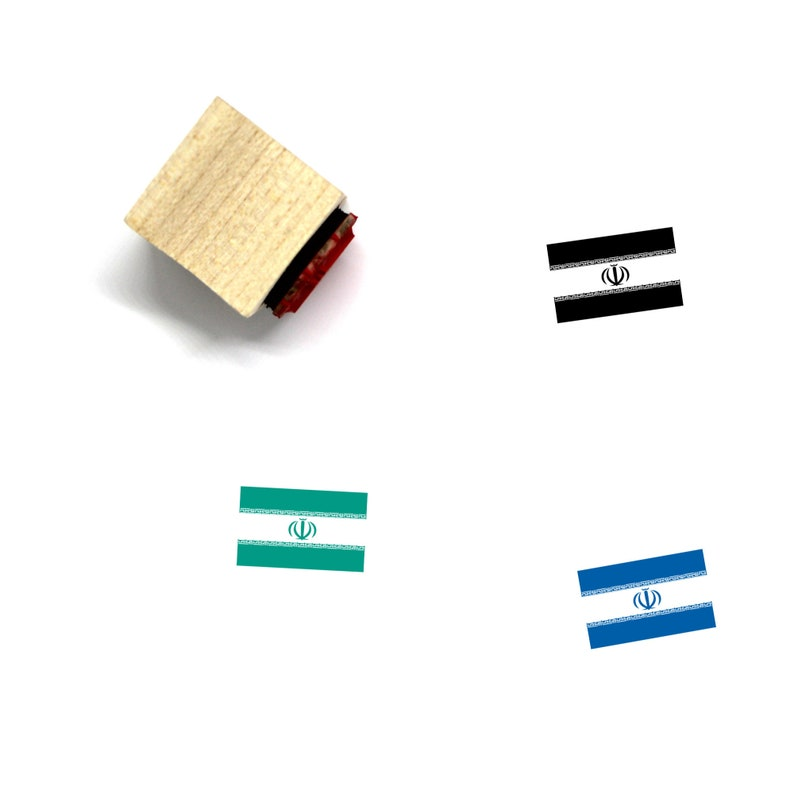 4 Iran Flag Wooden Rubber Stamp No