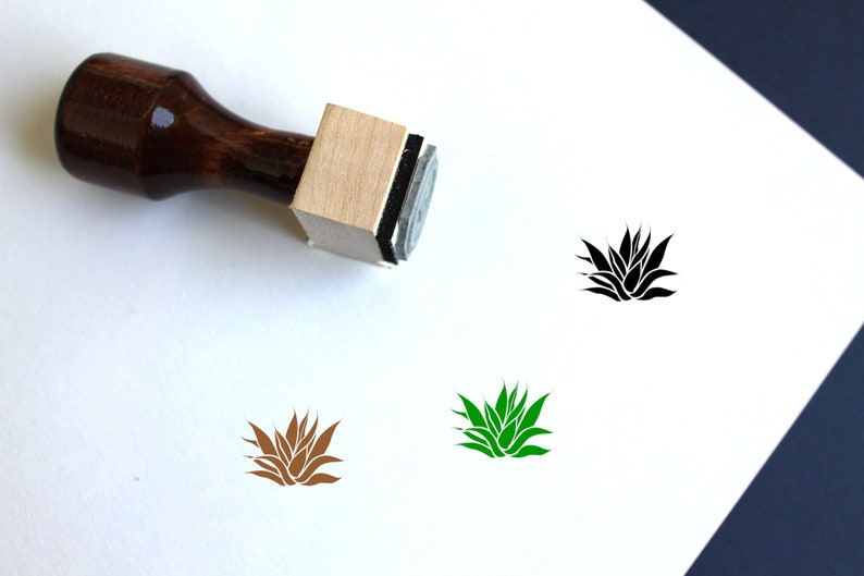 Agave Wooden Rubber Stamp