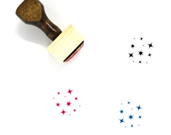 Stars Wooden Rubber Stamp