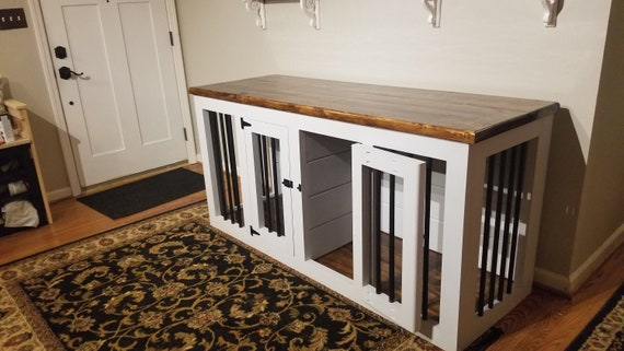 Large Wooden Double Dog Kennel Wood Dog Crate Furniture Dog Crate Dog Condo Kennel Entertainment Center Kennel Furniture Pet Furniture