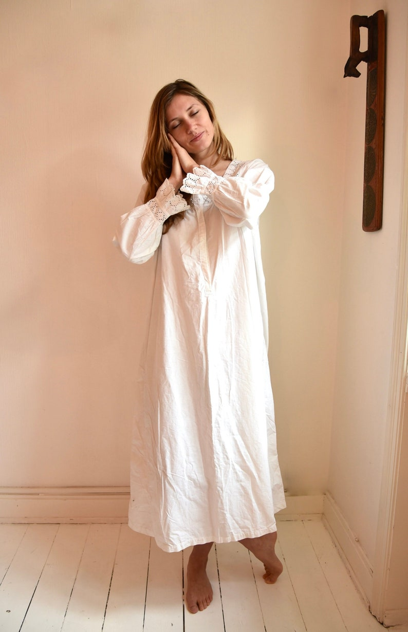 7b57564ba9 Antique Danish White Cotton Nightdress with Broderie Anglais