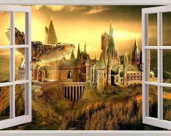 hogwarts wall mural etsyhogwarts harry potter 3d window view decal graphic wall sticker art mural