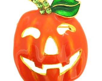 Rhinestone Fall Autumn Blue /& Green Pumpkin Halloween Plant Brooch Pin Garden Lover Gift A303