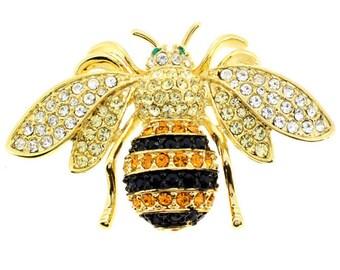 a698703b5d9 Golden Bee Crystal Pin Brooch