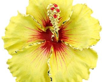 b6d81bb3397 Yellow Hawaiian Hibiscus Flower Swarovski Crystal Brooch and Pendant