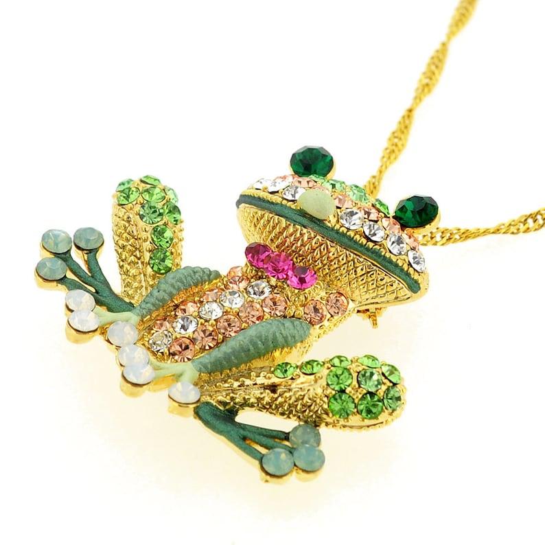 03de49193 Erinite Green Frog Pin Swarovski Crystal Pin Brooch And | Etsy