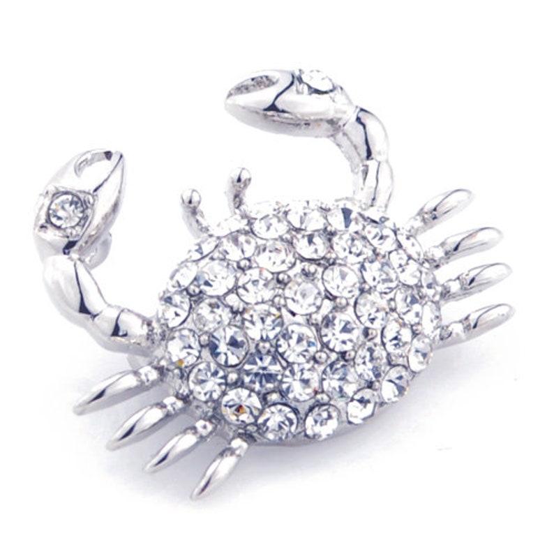 Silver Crystal Crab Pin Brooch
